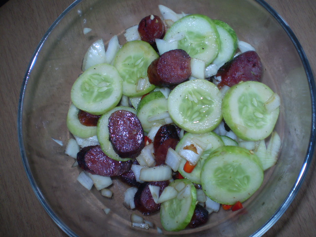 Spicy Chinese Sausage with Cucumber Salad